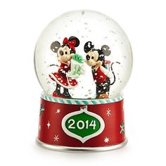 Mickey and Minnie Mouse Snow Globe 2014 Christmas