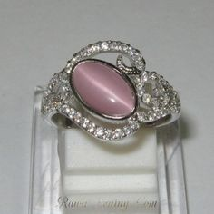 Cincin Pink Quartz Cat Eye Size 7US