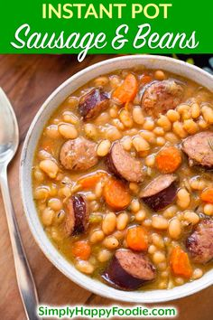 Instant Pot Sausage and White beans with smoky kielbasa or your favorite smoked sausage, onion, garlic, carrots, and white beans. A delicious pressure cooker sausage and beans one-pot meal. simplyhappyfoodie.com #instantpotrecipes #instantpotbeans #instantpotsausageandwhitebeans #pressurecookerbeans Thm Soup Recipes, Instapot Soup Recipes, Bean Recipes, Crockpot Recipes, Recipes With Smoked Sausage, Healthy Sausage Recipes, Pressure Cooker Recipes, Pressure Cooking, Pressure Cooker Beans