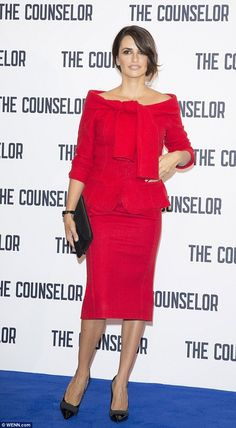 Red alert! Penelope Cruz stuns in red suit as she launches new film with husband Javier Bardem in London