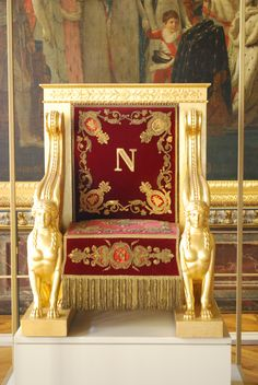 """Throne of Napoleon I, France gilded wood, gold thread)."" - My ""Pinpal,"" Mi Smith, just sent me this. I wrote back to her: ""Thanks. I'll just tell myself this is 'my' throne since it has my first initial. Napoleon will never know. Custom Made Furniture, Antique Furniture, Napoleon Josephine, Royal Throne, Neoclassical Interior, Palace Interior, Throne Room, French History, French Empire"