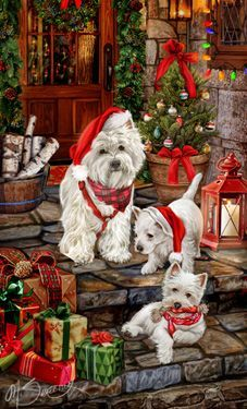 "New for 2015! SORRY SOLD OUT West Highland Terrier Christmas Cards are 8 1/2"" x 5 1/2"" and come in packages of 12 cards. One design per package. All designs include envelopes, your personal message, and choice of greeting. Select the inside greeting of your choice from the menu below.Add your custom personal message to the Comments box during checkout."