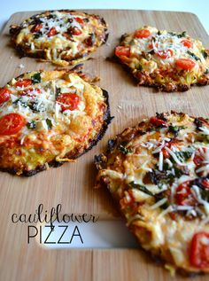 Cauliflower Pizza - Review: you won't believe this is cauliflower!!! So delicious! Minor changes I made: for 2 adults & 2 kids I doubled the recipe. Patty out your cauliflower crust into 5 smaller crusts rather than one larger (you'll get a crunchier crust this way). SPRAY THE PAN, put on crust and brush with olive oil. Bake @425 for 20-25 minutes, keep an eye on them. SO GOOD!