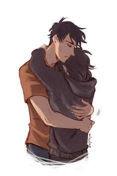 Percico hug - Minuiko's response to Viria - Percy Jackson / Nico di Angelo / Heroes of Olympus