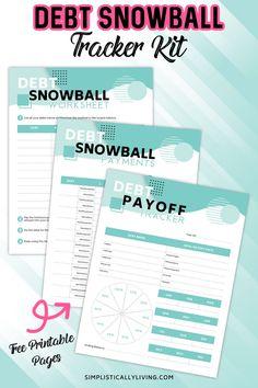 Debt Snowball Printable Worksheets Debt Snowball Spreadsheet, Debt Snowball Worksheet, Financial Peace, Financial Tips, Financial Planning, Wall Street, Blockchain, Tracker Free, Debt Tracker