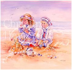 Paintbox Poppets : Seashells & Sandcastles © Copyright Christine Haworth Designs