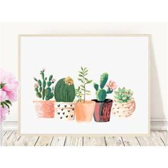 Cactus Print, Printable Art, Cactus Art, Home Decor, Potted Cactus,... (7.57 CAD) ❤ liked on Polyvore featuring home, home decor, wall art, succulent wall art, succulent plant pots, succulent pots, watercolor wall art and cactus home decor