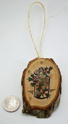 Handmade Wood Slice Holiday Ornament. Jug and by RusticWhitesides