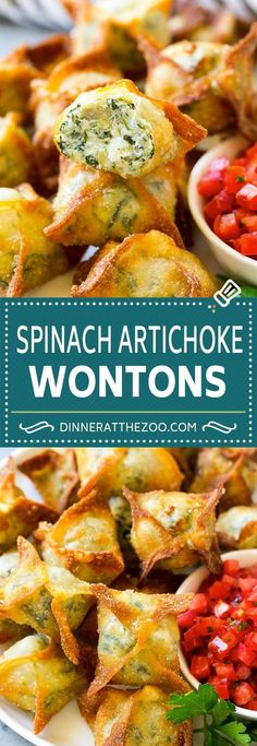 87 Super Bowl Party Recipes That Will Be Gone by Halftime Spinach Artichoke Wontons Recipe Wonton Appetizers, Wonton Recipes, Finger Food Appetizers, Yummy Appetizers, Appetizers For Party, Appetizer Recipes, Spinach Appetizers, Asian Appetizers, Appetizer Dessert