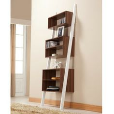 @Overstock.com - Pixie Leaning Tower Bookcase/ Display Shelf - This leaning bookcase and display shelf will bring modern style and functionality to your home or office space. Made of wood and MDF, this shelf is finished with white and walnut and features five leveled pocket shelves for trendy storage.  http://www.overstock.com/Home-Garden/Pixie-Leaning-Tower-Bookcase-Display-Shelf/5328393/product.html?CID=214117 $125.99