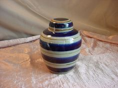 Speckled Pottery with Cobalt Blue and Brown Stripes 6 inch Ginger Jar