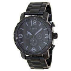 Fossil JR1401 Men's Nate Black Dial Black IP Steel Bracelet Chronograph Watch