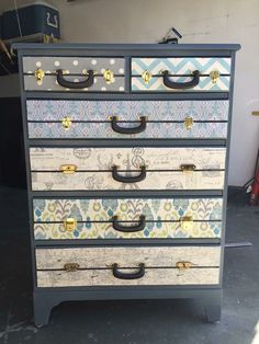Refurbished Furniture, Painted Furniture, Fabric Painting, Repurposed, Dresser, Antiques, Home Decor, Furniture, Homemade Home Decor
