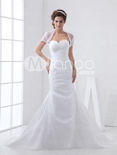 White Taffeta Sweep Sweetheart Mermaid Trumpet Wedding Dress    Item Code:#08170035156