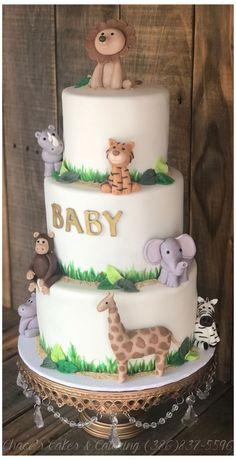 Rainbow Unicorn Cake, Cupcakes, Cake Pops & Cookies #safari #baby #shower #cake Safari Animal Baby Shower Cake... ❤ Tortas Baby Shower Niña, Safari Baby Shower Cake, Baby Shower Cakes For Boys, Boy Baby Shower Themes, Baby Boy Shower, Animal Baby Showers, Babyshower Themes For Boys, Animal Theme Baby Shower, Jungle Theme Baby Shower