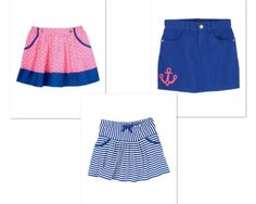 NWT Gymboree Stripes and Anchor Skirt Skort Nautical Sz 4 5 6 7 8 9 10