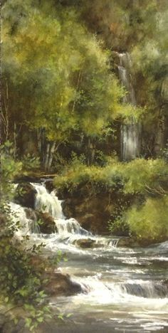 Lance Johnson Paintings- Waterfall in forest Watercolor Trees, Watercolor Landscape, Landscape Art, Landscape Paintings, Watercolor Paintings, Watercolour, Waterfall Paintings, Pictures To Paint, Beautiful Paintings