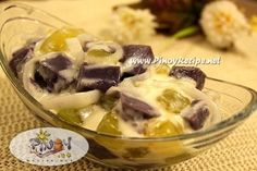 Ube Macapuno Salad Recipe is made from macapuno preserve, ube or Purple Yam made into Halaya, sweetened milk, toasted pinipig for the crunch and with some nata de coco to add more color.