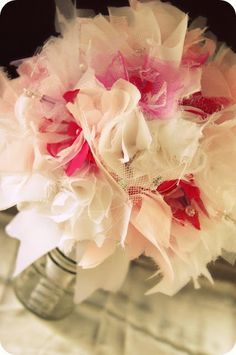 A beautiful bouquet!   Bridal Fabric Bouquet - White and Pinks - Fabric Bouquet - Crystals and Pearls - Sweet Pinks. $255.00, via Etsy.