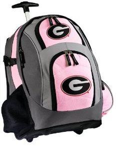 Graduation Gift:Georgia Bulldogs Rolling Backpack Deluxe Pink University of Georgia UGA Backpac