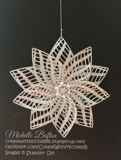 A Decoration made with the Delicate Ornament Thinlits Dies, Snow Flurry Punch…handmade flower ornament created with delicate die cuts . posh look featuring glitter paper and pearly center . Christmas Paper Crafts, 3d Christmas, Stampin Up Christmas, Christmas Baubles, Christmas Projects, Handmade Christmas, Holiday Crafts, Christmas Decorations, Crochet Christmas