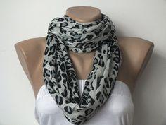 Pashmina Scarf - Leopard Print Scarf - Light Blue and Black Long Pashmina Scarves For Women. $20.00, via Etsy.