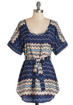 Medium Format Memory Tunic in Navy Zigzag - Blue, Belted, Casual, Short Sleeves, Scoop, Tan / Cream, Chevron, Blue, Short Sleeve, Press Placement, Best Seller, Maternity, Long, Fall