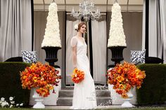 Hip and Modern wedding at Viceroy Palm Springs ~ Orange, Black and White