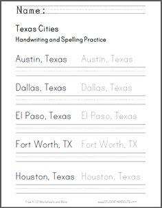 Texas Cities Handwriting Practice Worksheet - Free to print (PDF).