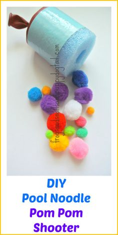 DIY Pool Noodle Pom Pom Shooter from Frogs and snails and Puppy Dog Tail featured on hands on : as we grow
