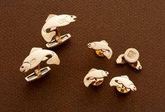 """Trout- 14kt gold or silver trout cufflinks and studs with or without rubies  3/4"""" x 1 1/8"""" &  1/2"""" x 3/4"""""""