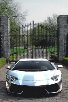 Silver Lamborghini Aventador