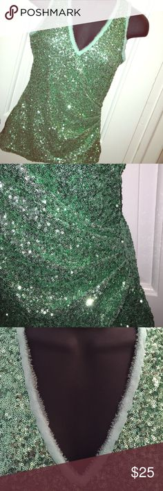 Stunning Mint green sequins tank top. NWOT Shell: 100% nylon; Combo: 100% silk; Lining: 92% poly & 8% spandex Tagged XS, but runs larger than that, fits more like S / M. NWOT, never worn. Boston Proper Tops Tank Tops