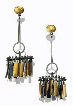 Sydney Lynch, Artist, Mambo earrings, Oxidized sterling silver & 22k gold, 2.625 inches long
