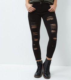 Parisian Black Extreme Ripped Skinny Jeans | New Look