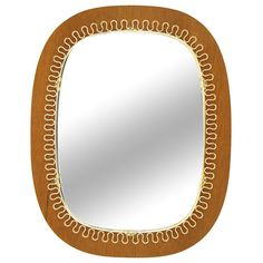 Josef Frank Brass and Teak Mirror | From a unique collection of antique and modern wall mirrors at https://www.1stdibs.com/furniture/mirrors/wall-mirrors/