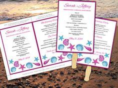 Seashells Beach Wedding Fan Microsoft Word Template - Fuchsia Turquoise Bordered Ceremony Program - Outdoor Wedding Program Favor by PaintTheDayDesigns, $7.75