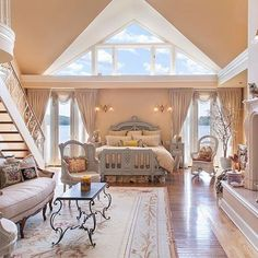 I'm not sure if I like this bedroom or not. I'm sure it's the angle of the pic, but it looks like a bedroom within a living room.