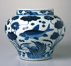 Wine Jar with Fish and Aquatic Plants. China. Yuan dynasty, 1279–1368. Porcelain with underglaze cobalt blue decoration,