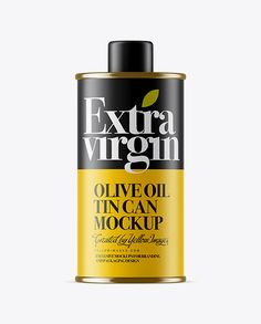 Matte Olive Oil Tin Can w/ Cap Mockup
