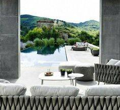 presents Tosca, design by Monica Armani - New furniture collecti. -Tribù presents Tosca, design by Monica Armani - New furniture collecti. - Fabric bed TOSCA by TRIBÙ Outdoor Pool, Outdoor Spaces, Outdoor Living, Outdoor Decor, Indoor Outdoor, Outdoor Sofas, Pool Backyard, Modern Backyard, Outdoor Lounge