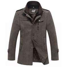 Mens Thickened Stand Collar Wool Blend Tweed Coats Winter Zipper Jackets