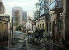 Baku Azerbaijan, Tower, City, Drawings, Artist, Painting, Artworks, Amazing, Rook