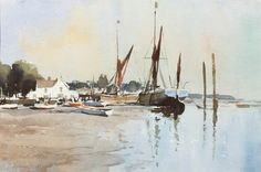 Edward Seago — UK) Sprit-Sail Barges at Pin Mill. 14 x 21 in. Watercolor Sea, Watercolor Landscape Paintings, Landscape Drawings, Watercolor Artists, Watercolour Painting, Landscape Art, Watercolours, Marilyn Monroe Painting, Traditional Paintings