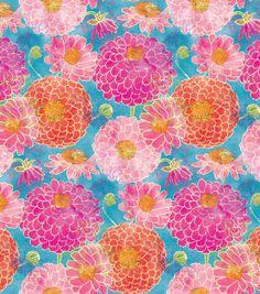 emium Quilt Fabric-Bright Zinnias Floral Master at Joann.com