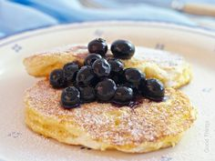 Light and fluffy ricotta breakfast hotcakes with blueberries - Liz Posmyk Good Things