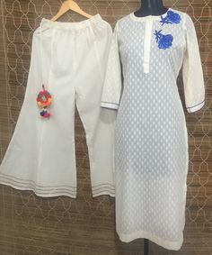 The Summer Pearl Long Straight Kurti with Kalidaar Palazzo Churidar, Patiala, Salwar Kameez, Cotton Suit, Indian Suits, Lehenga, Casual Wear, Fashion Accessories, Cold Shoulder Dress