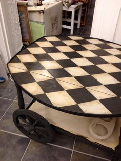 A gorgeous Harlequin Pattern on a serving cart painted in Country Grey and Graphite Chalk Paint® decorative paint by Annie Sloan | By Susanne Olsson