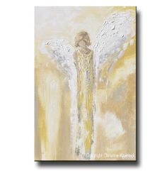 """""""Have a Little Faith"""" Canvas Print of ORIGINAL art abstract angel painting gold guardian angel wings modern spiritual wall art yellow grey white home decor gift"""