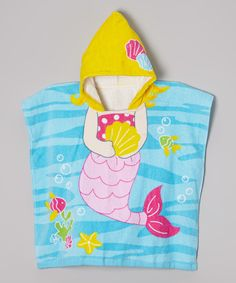 Yellow & Blue Mermaid Hooded Beach Towel